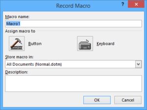 record macro dialog