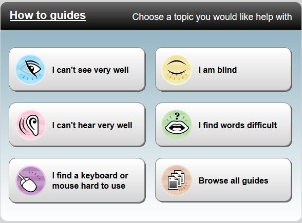 "Screenshot of the ""BBC My web my way"" web page"